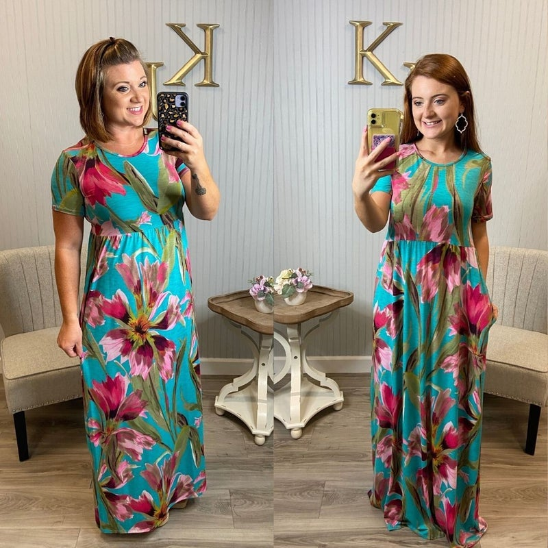 Mint Painted Floral Maxi