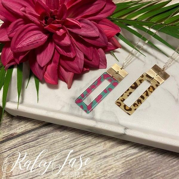 Leopard Rectangle Pendant Necklace