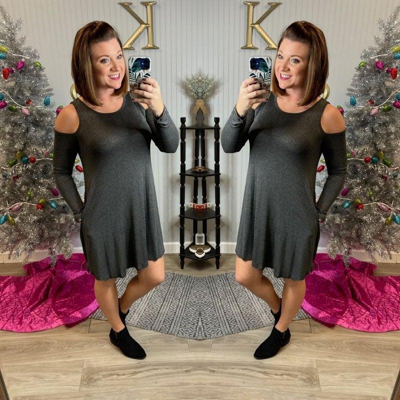 Charcoal Open Shoulder Swing Dress