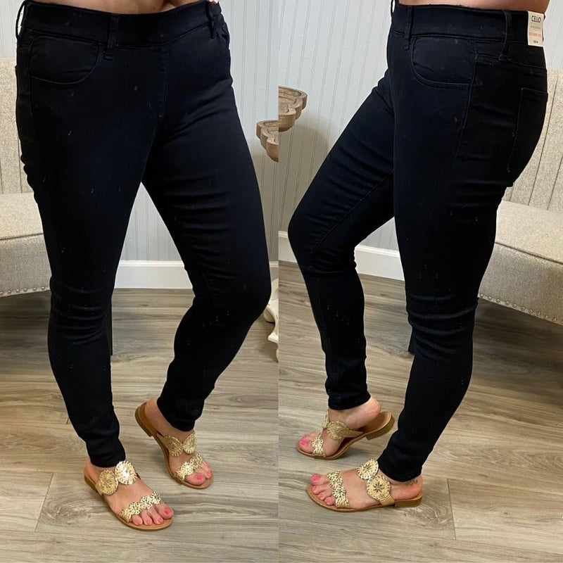 Cello Black Skinny Pull On Jeans