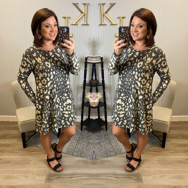 Grey Varied Spotted Dress