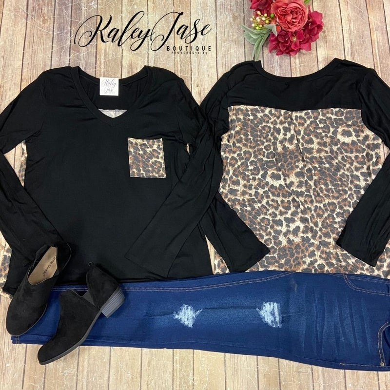 Black Leopard V Pocket Back Top