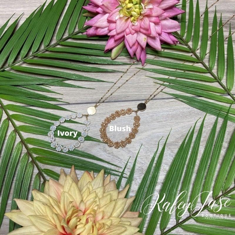 Beaded Flower Drop Necklace #36