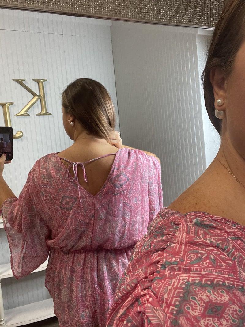 WB Pink V Design Dressy Tie Back Top