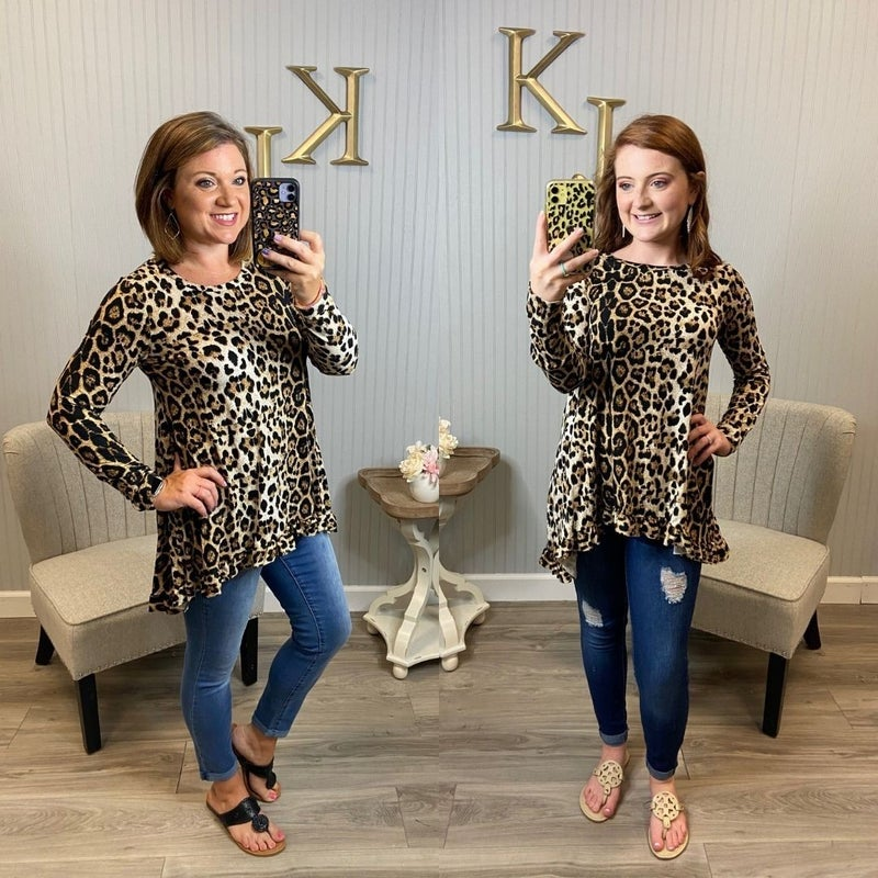 Leopard LS  Ruffle Bottom Tunic
