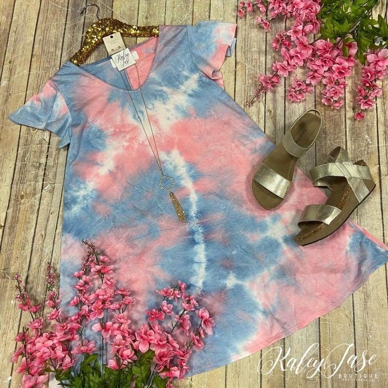 Pink Sky Pastel V Ruffle Sleeve Dress