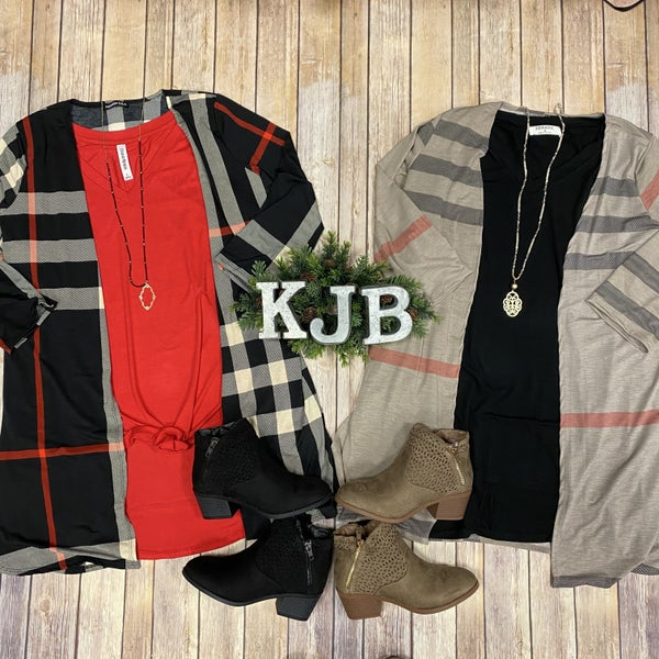 H Plaid Cardigan