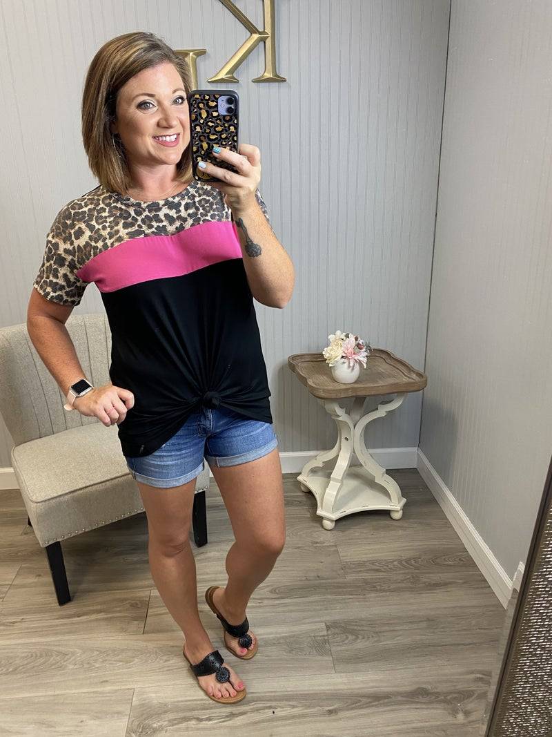 Leopard Colorblock Stripe Top
