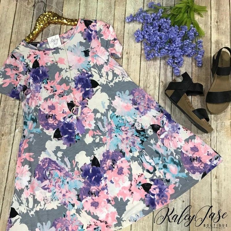 Grey Lavender Bright Floral Dress