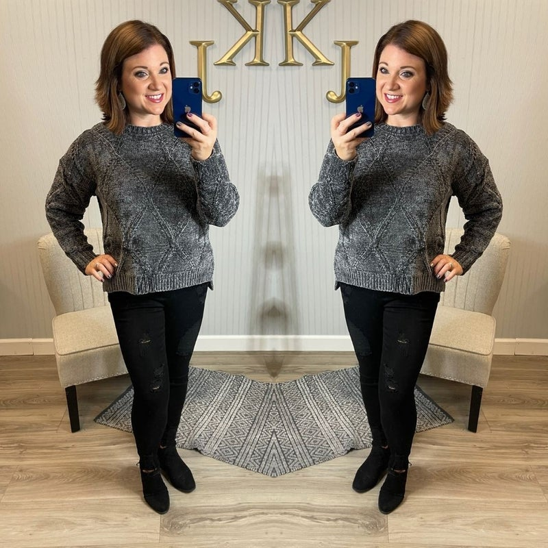 Diamond Grey Chenille Sweater