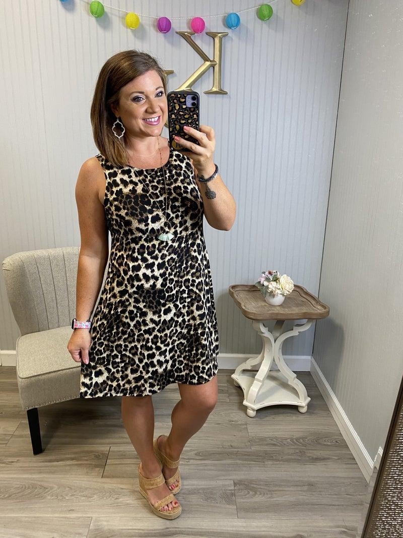 Fall Leopard Sleeveless Swing Dress