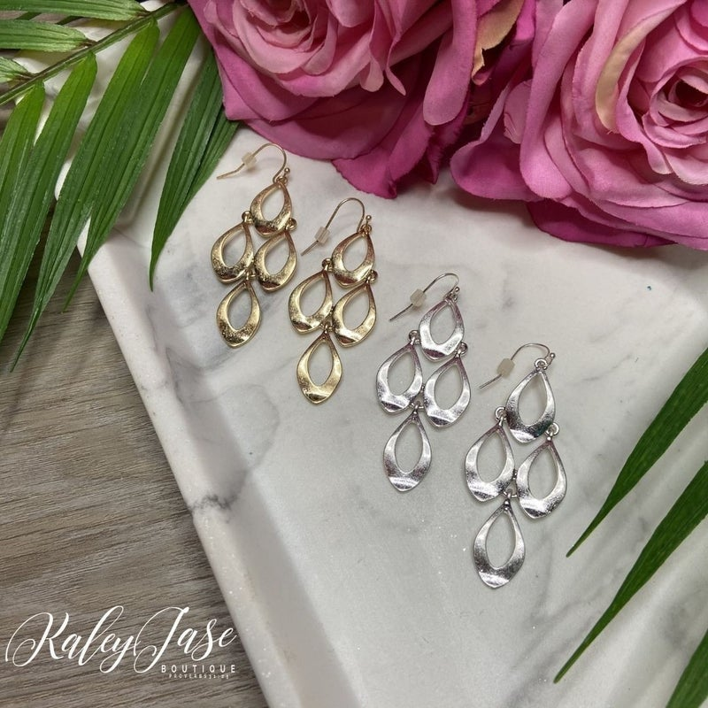 Simple Tiered Drop Earrings -A7