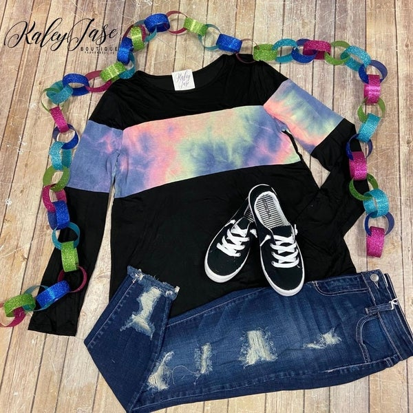 Black Colorful Colorblock Tie Dye Top