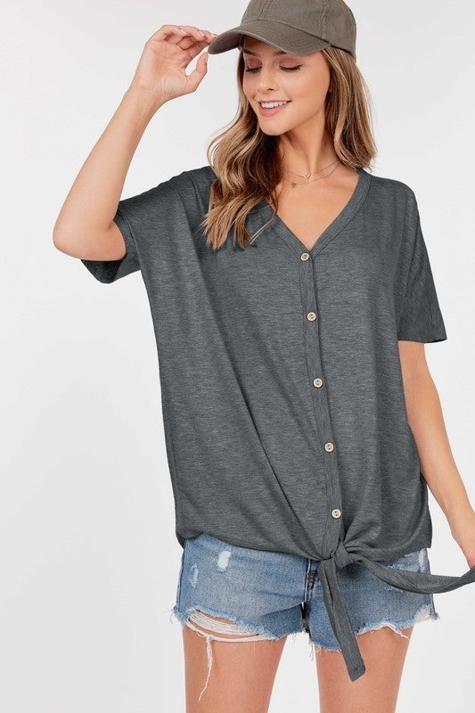 BF Button Front Tie Top *Final Sale*