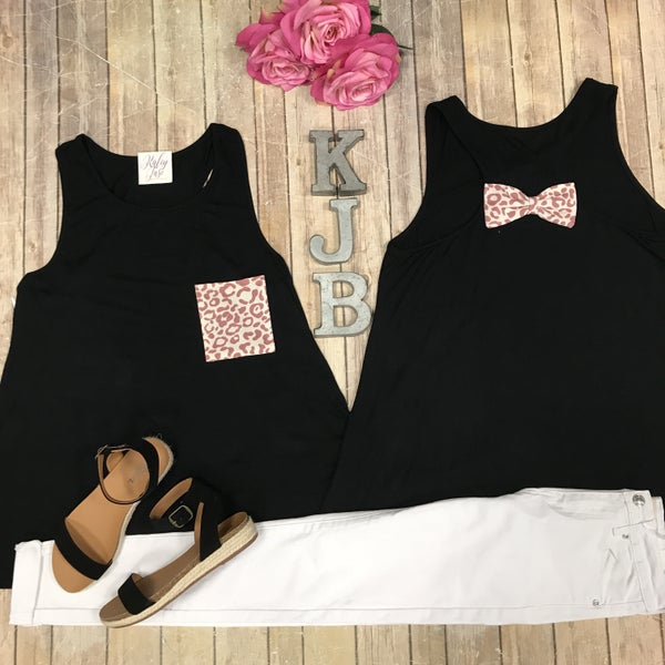 Black Mauve Leopard Bow Back Tank