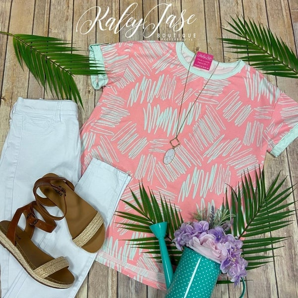 HM Soft Pink Mint ZigZag Button Sleeve Top