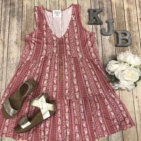 Mauve Paisley Tiered Tunic/Dress