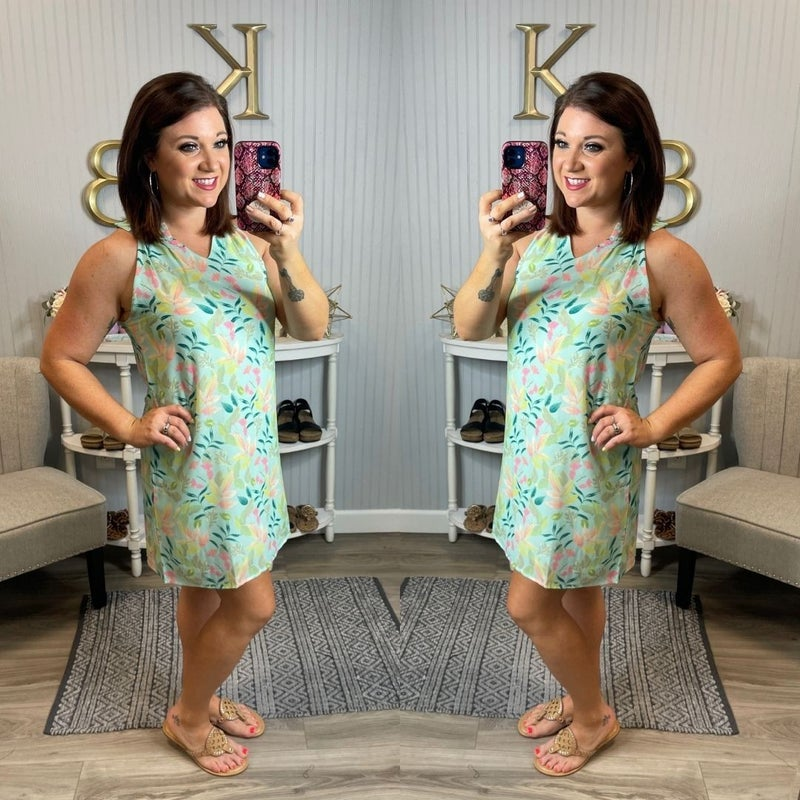 Mint V Leaf Dress