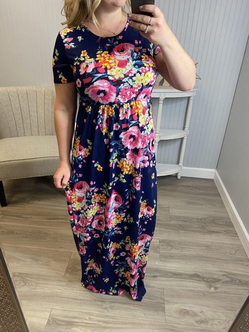 Navy Floral Short Sleeve Maxi