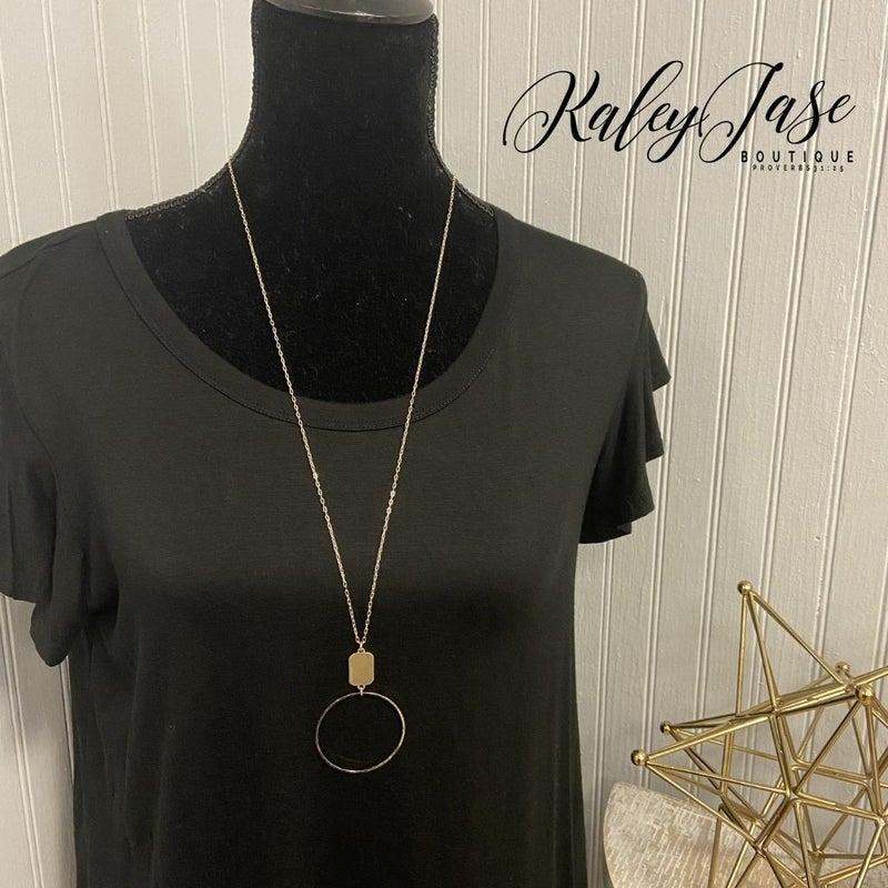 Simple Circle Pendant Necklace #17