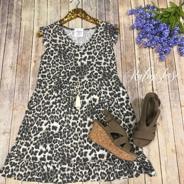 Leopard Babydoll Ruffle Sleeve Dress