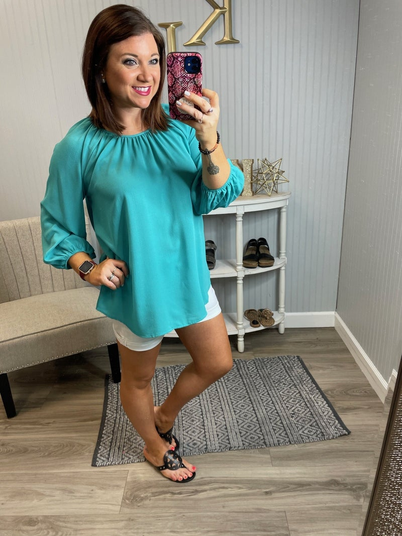 Dressy Gathered Sleeve Top