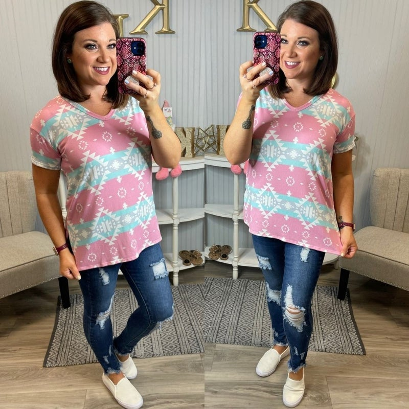 HM Soft Mint Pink Aztec Design Top