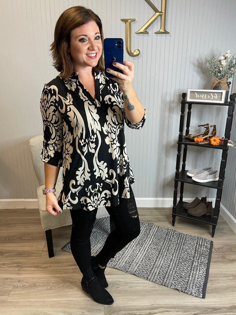 SIL Black Taupe Damask Gabby Top
