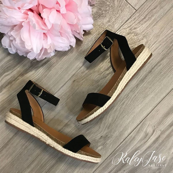 Black Flat Ankle Strap Sandals