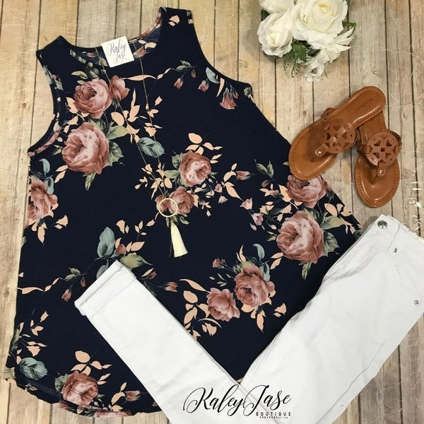 Navy Floral Tank Tunic