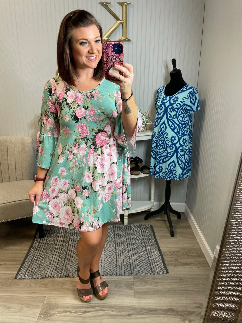 Sage Floral Bell Sleeve Dress