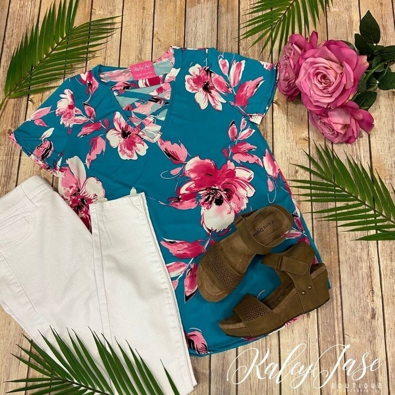 SIL Teal Fuchsia Floral Choker Crossover Top