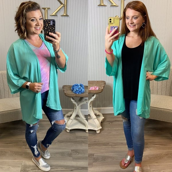 Mint Sheer Kimono