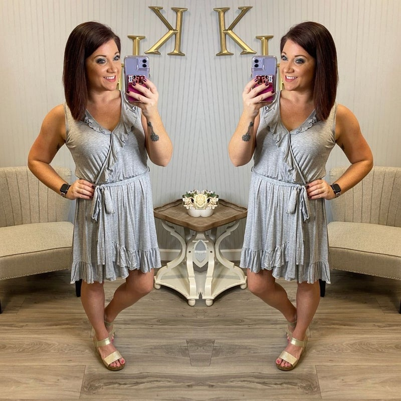 Heather Grey Ruffle Vneck Dress