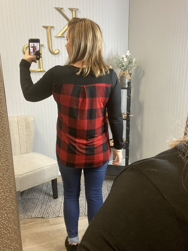 Red Black Plaid Pocket Back Top