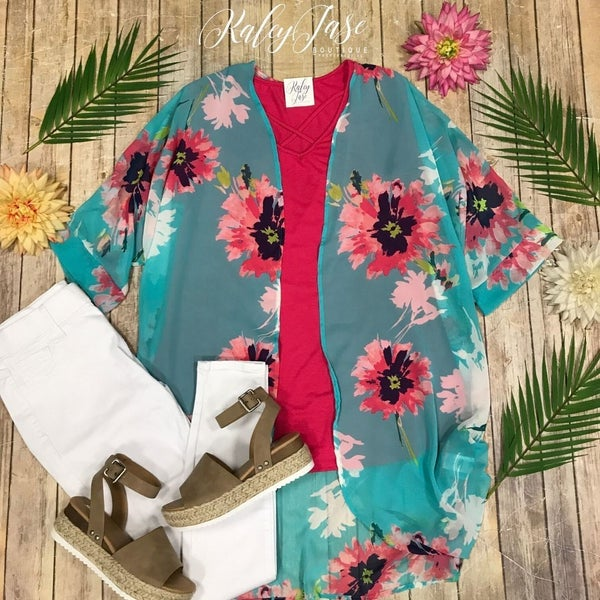Jade Floral Sheer Kimono Set
