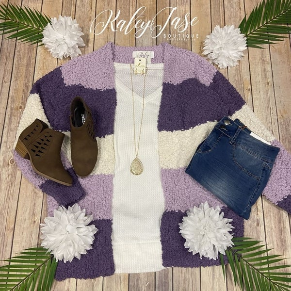 Lavender Color Block Popcorn Cardigan