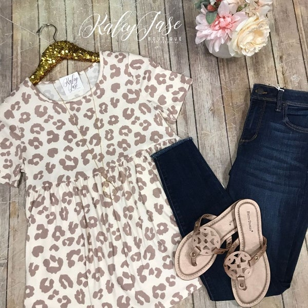 Taupe Leopard Babydoll Top
