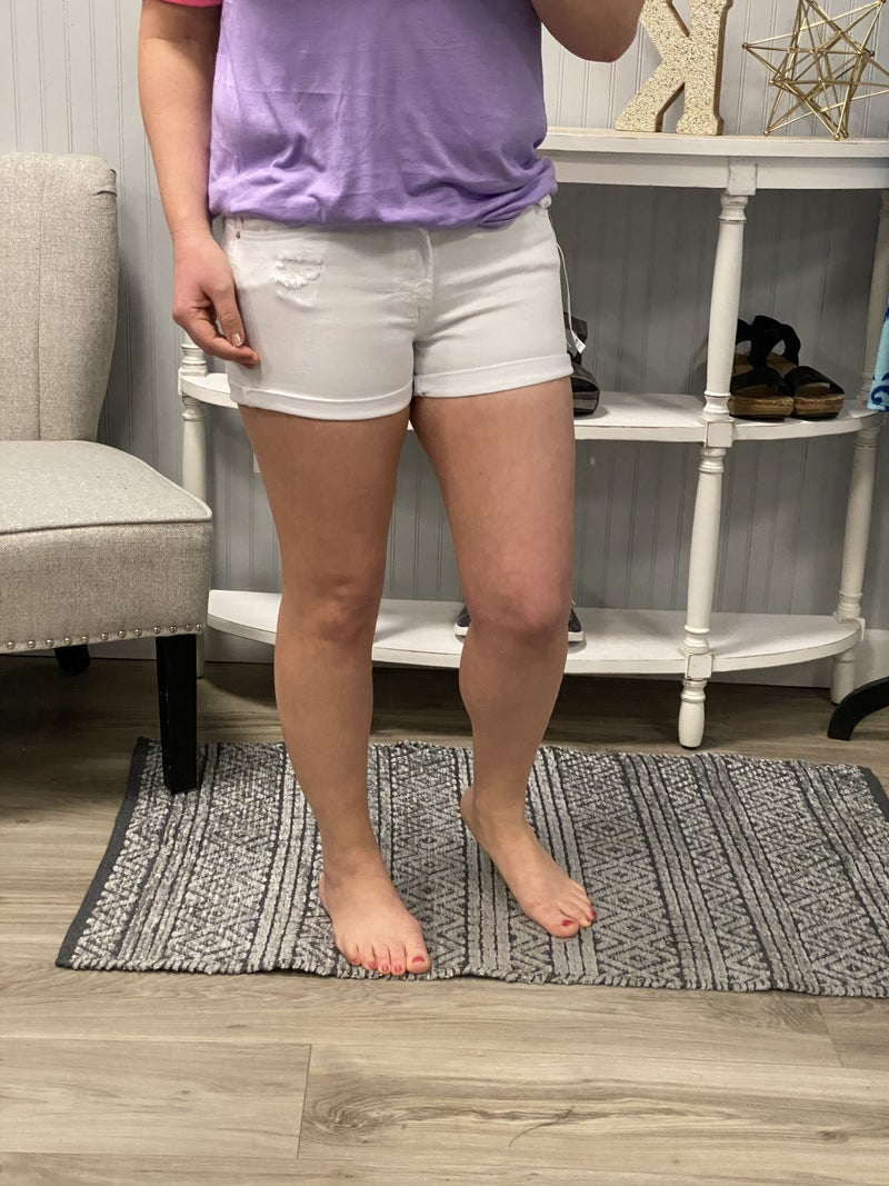 WX White Rolled Cuff Shorts