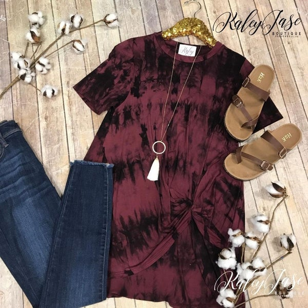 Wine Tie Dye Twist Top