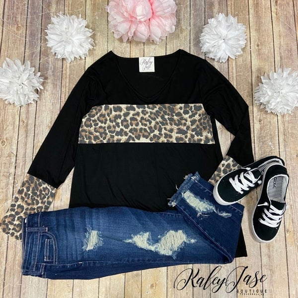 Leopard Colorblock Cuff LS Top