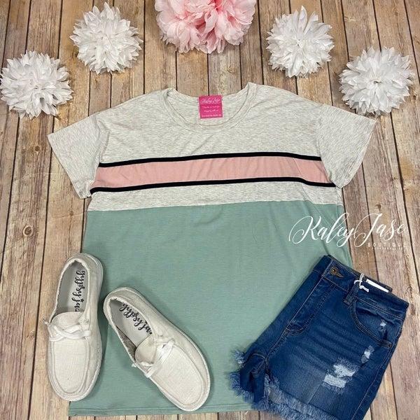 VB Sage Blush Colorblock Stripe Top