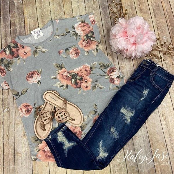 Grey Floral Pocket Tee