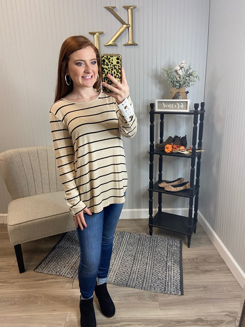 Stripe LS Crochet Accented Button Back Top *Final Sale*