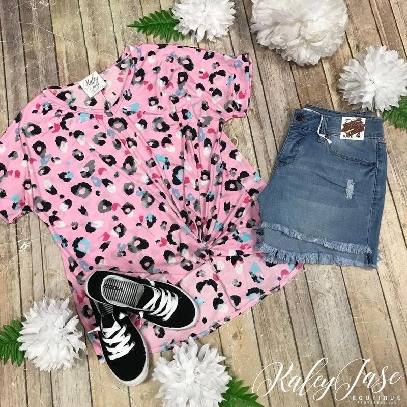 Pink Leopard V Twist Front Top