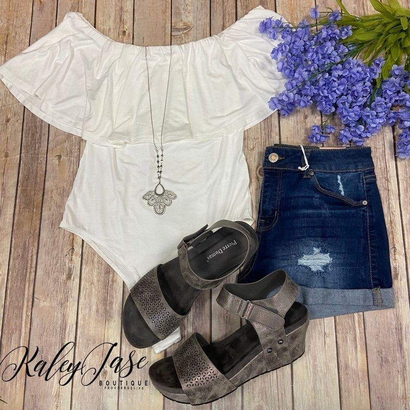 Ivory Ruffle Off Shoulder Body Suit