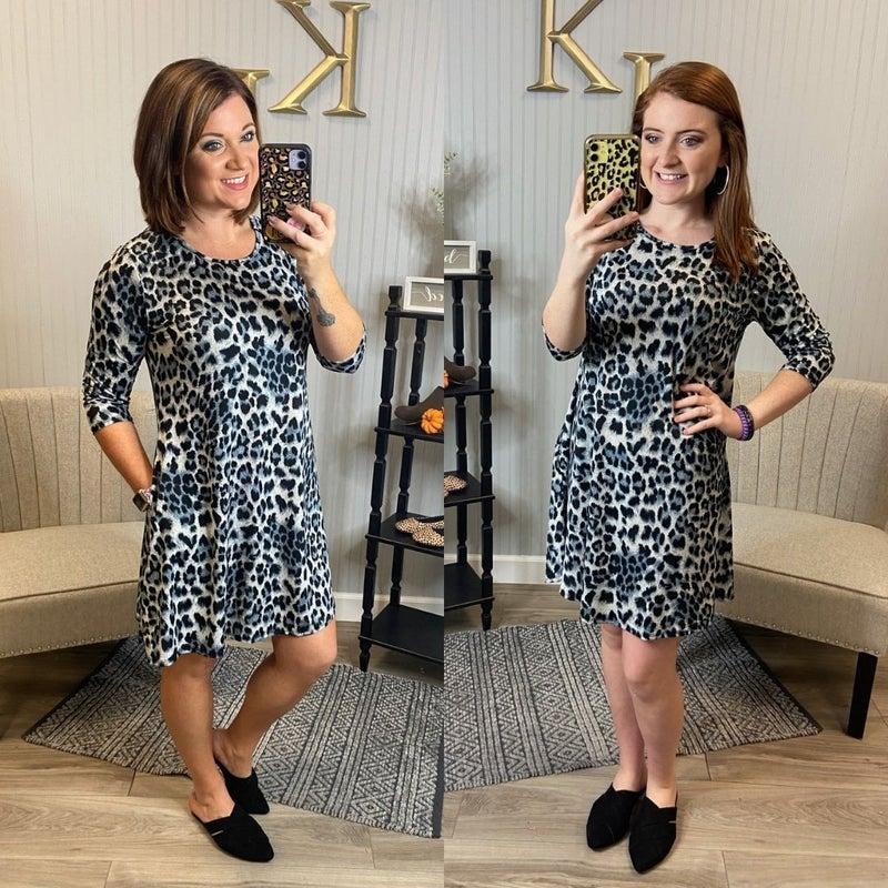 Wild Grey Leopard Dress