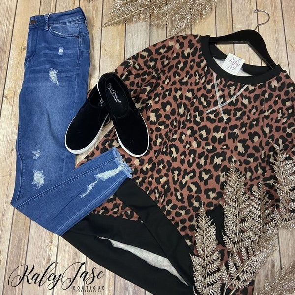 SIL Marsala Black Leopard Raglan Tulip Bottom *Final Sale*