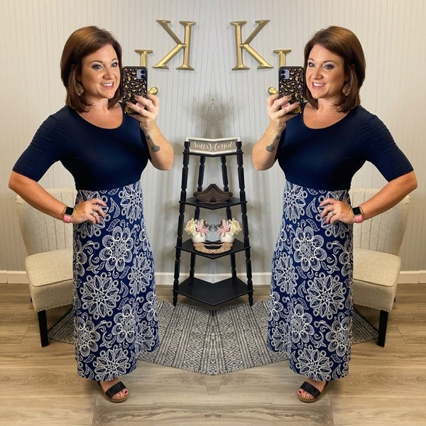 Navy Medallion Print Midi Dress