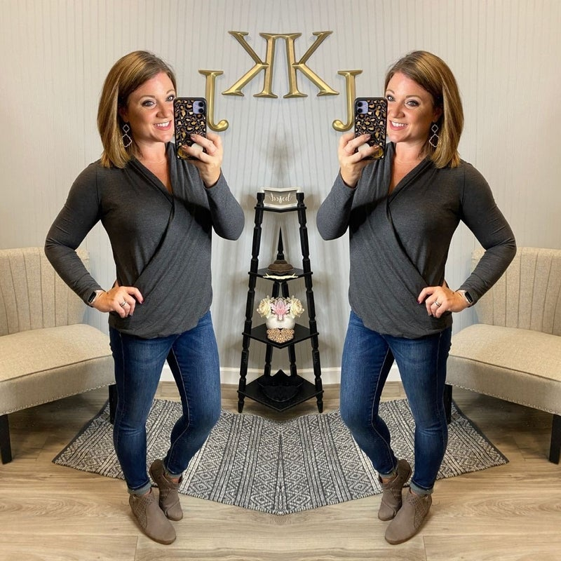Long Sleeve Wrap Front Top